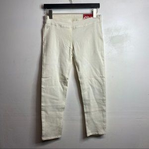 Guess white cropped skinny pull on side zip